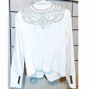 Zara embellished white blazer